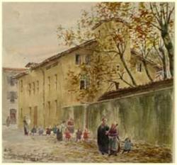 Palais de St Michel, vu depuis la rue Montaut, aquarelle de Grimard.