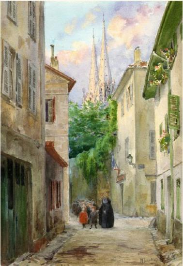 Palais de St Michel, vu depuis la rue Douer, aquarelle de Grimard.