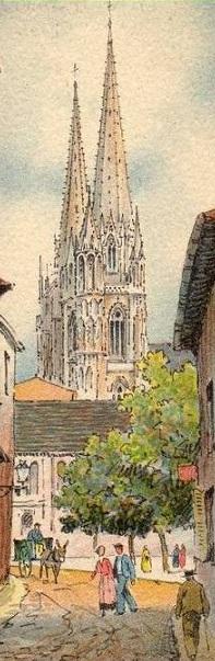 La place Montaut, vue depuis la rue Douer, aquarelle de Barday.