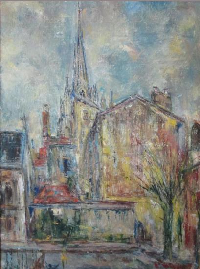 La place Montaut à Bayonne peinte vers 1960 par Pierre Mahut (1910-2004)